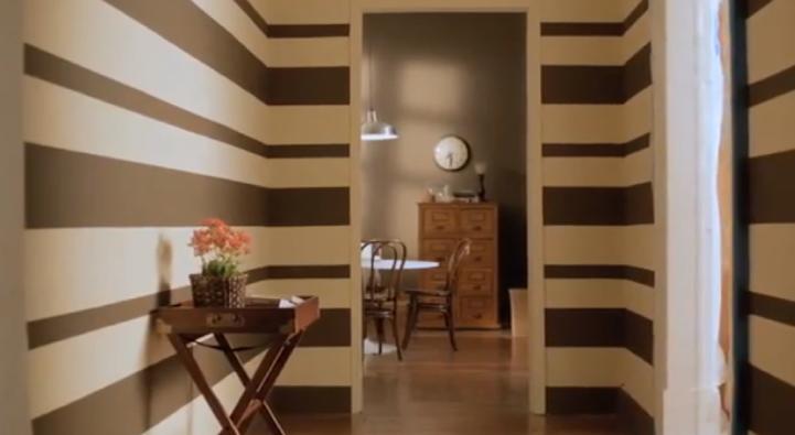 C mo pintar rayas horizontales en las paredes de tu casa for Formas de pintar paredes interiores
