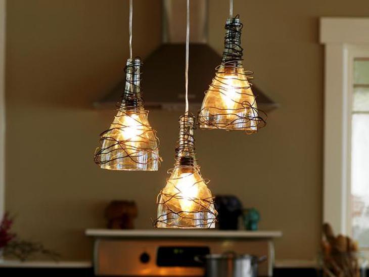 C mo hacer l mparas colgantes con botellas de vidrio hab tala - Ideas para hacer lamparas ...