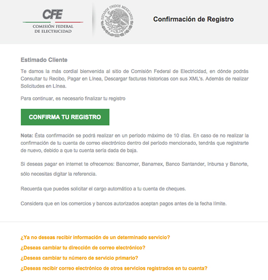 Confirmar mail registro de luz