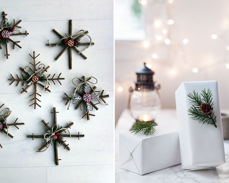 Ideas para decorar con ramas en navidad hab tala - Ideas para decorar una pared ...